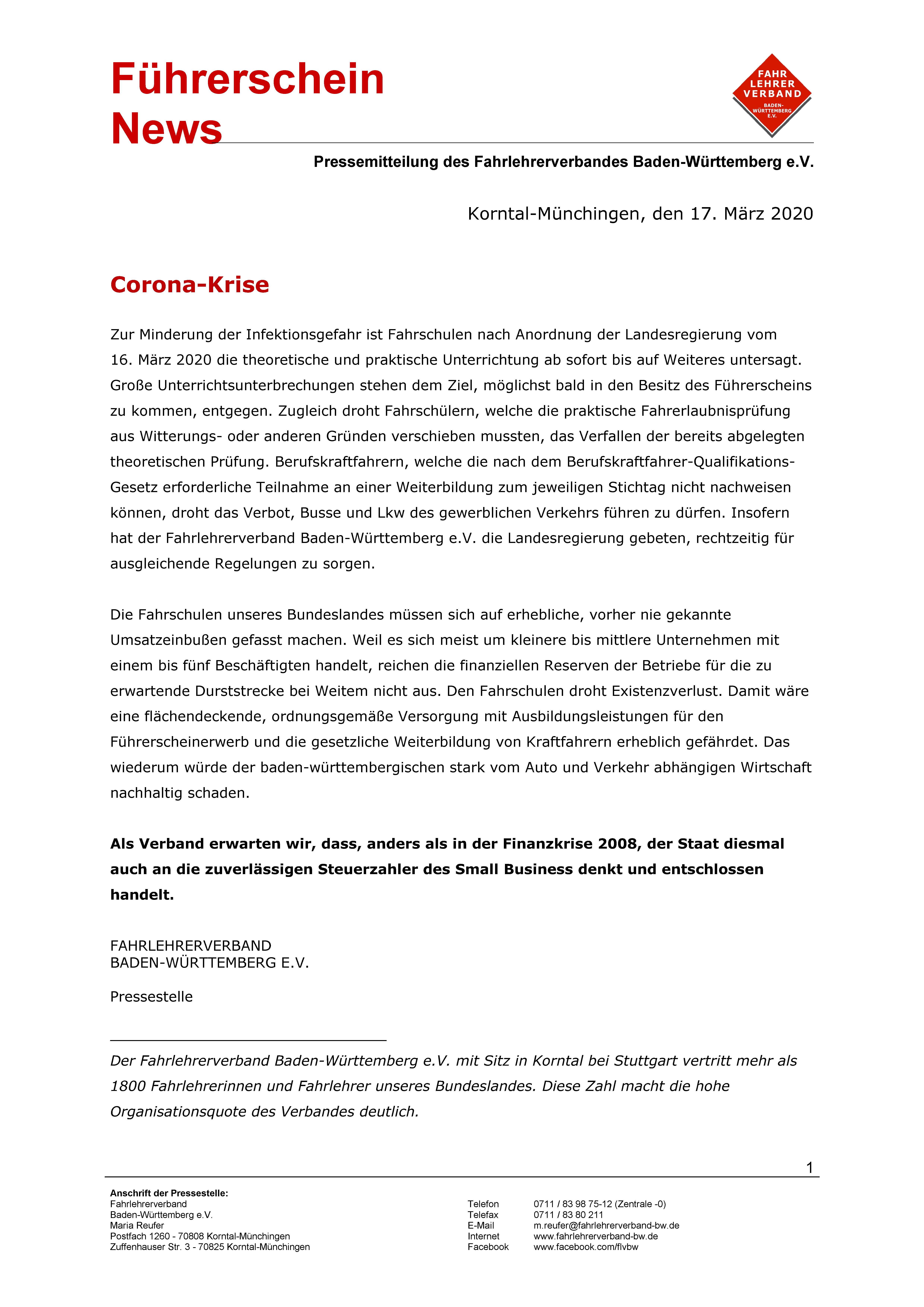 Corona Virus Update Fahrlehrerverband Baden Wurttemberg
